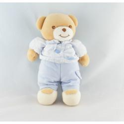 Doudou ours bleu vichy rayé coeur TAKINOU