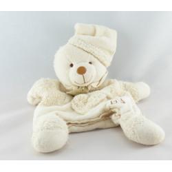 Doudou et compagnie bio ours blanc beige fleurs 14 cm