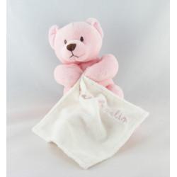 Doudou plat ours rose mouchoir blanc Baby nat