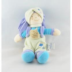 Doudou lutin fille cheveux mauve tenue bleu vert DOUDOU ET COMPAGNIE