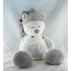 Doudou plat ours blanc gris rayé MOTS D'ENFANTS