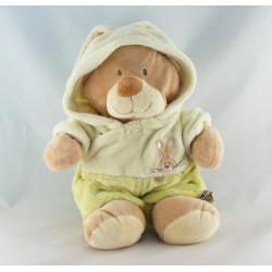 Doudou ours déguisé en lapin blanc vert NICOTOY