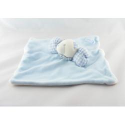 Doudou plat ours blanc bleu vichy JACADI