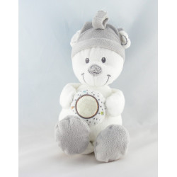 Grand Doudou ours blanc gris rayé étoile lune MOTS D'ENFANTS