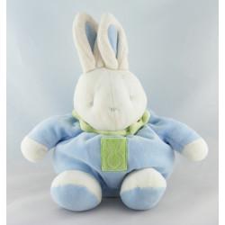Doudou Lapin boule bleu vert KLORANE