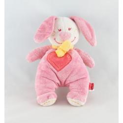Doudou lapin rose coeur TEX 16 cm