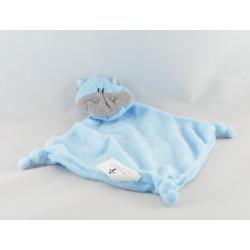 Doudou plat hippopotame bleu éponge T ANAIK lot de 2