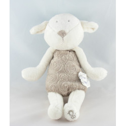 Doudou plat mouton agneau blanc gris OBAIBI
