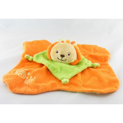 Doudou plat lion écru orange SIPLEC