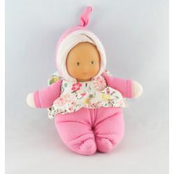 Doudou poupon bébé rose col fleurs COROLLE