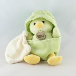 Doudou poussin vert coquille avec mouchoir BABY NAT NEUF