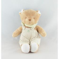Doudou ours beige salopette foulard vert NOUKIE'S