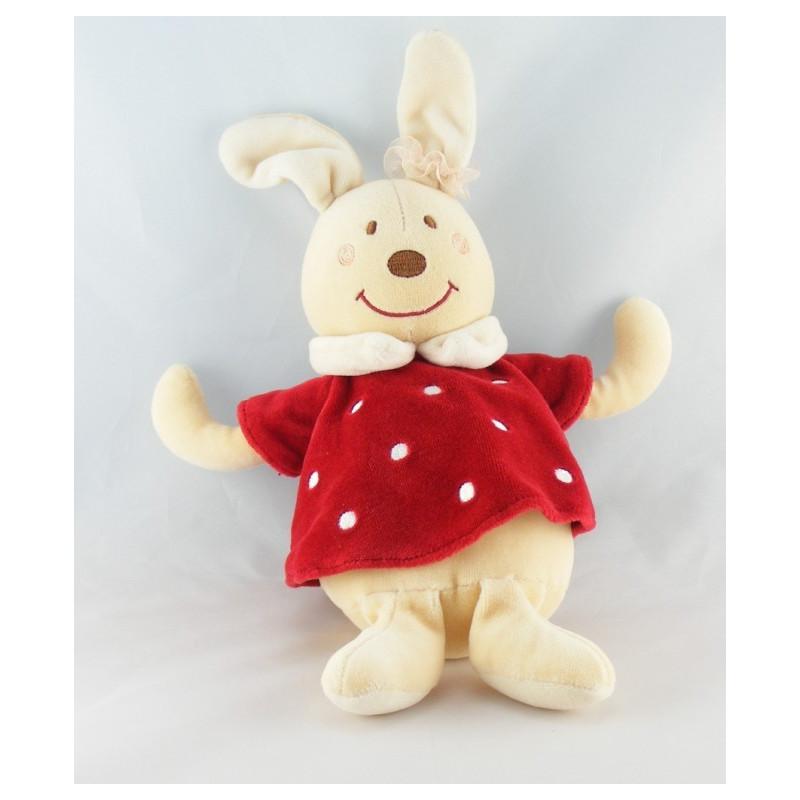 Doudou lapin robe rouge à pois chouchou SUCRE D'ORGE