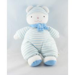 Doudou luminou ours rayure bleu JEMINI