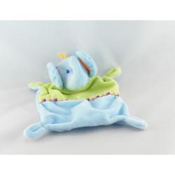 Doudou plat éléphant bleu vert NICOTOY