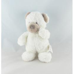 Doudou ours blanc avec doudou mouchoir bleu NICOTOY