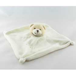 Doudou plat ours blanc vichy beige BABY NAT