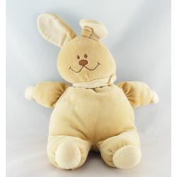 Doudou lapin beige blanc noeud marron NOUKIE'S