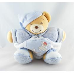 Doudou patapouf ours blanc bleu enfant laine KALOO