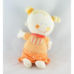 Doudou musical poupée fille nattes blondes robe orange BABYSUN