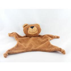 Doudou plat ours marron carreaux AUBERT