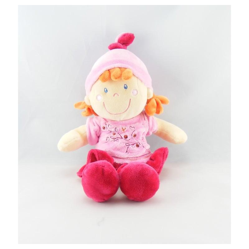 Doudou lutin fillette robe rose bordeaux VETIR