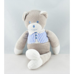 Doudou ours gris blanc noeud rose Musti de Mustela