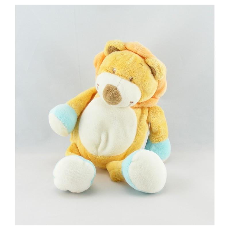 Doudou plat lion jaune bleu AMTOYS