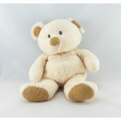 Doudou ours blanc écharpe bleu LASCAR