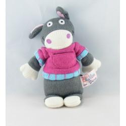 Doudou chien marron rouge violet laine LATITUDE ENFANT