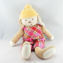 Doudou lapin chien beige bonnet orange COROLLE
