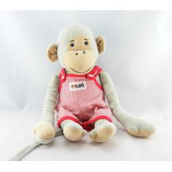 Doudou singe gris Popi salopette rouge AJENA 38 cm