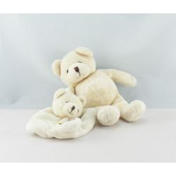 Doudou ours blanc écru avec mini doudou plat NATURE BABY NAT