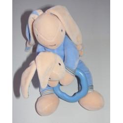 Doudou lapin bleu avec hochet pomme