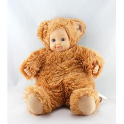Poupée ours marron roux ANNE GEDDES 40 cm