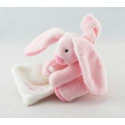 Doudou et compagnie attache tétine lapin bleu avec mouchoir