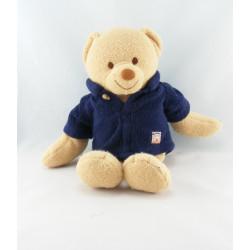 Doudou ours beige manteau bleu marine JOLLYBABY