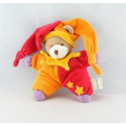Doudou plat ours arlequin rouge violet orange BABY NAT