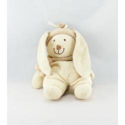 Doudou Lapin écru bonnet et foulard beige NICOTOY