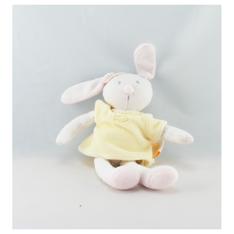 Doudou lapin robe jaune MOULIN ROTY