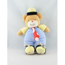 Doudou Ours jaune bleu marine cravate rouge TAKINOU