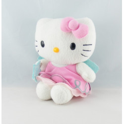 Doudou chat HELLO KITTY rose vert fleurs SANRIO LICENSE