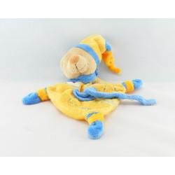 Doudou plat accroche tétine ours jaune bleu BABY NAT