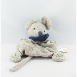 Doudou plat souris blanche foulard bleu marine BABYSUN