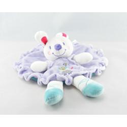 Doudou plat rond lapin blanc bleu fleur NICOTOY