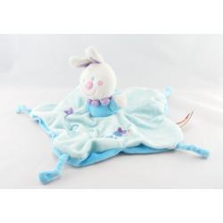 Doudou plat lapin bleu rayé ABC attache tétine NICOTOY