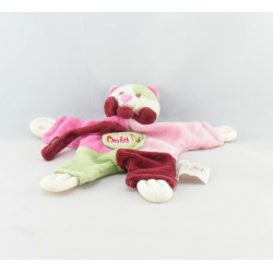 Doudou plat chat rose vert accroche tétine BABY NAT