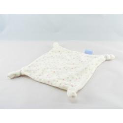 Doudou plat carré blanc pois rose beige DISNEY BABY