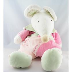Doudou et compagnie semi plat souris rose Léonie avec bébé