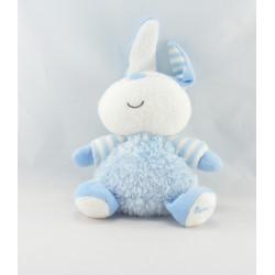 Doudou lapin rayé bleu luminou JEMINI